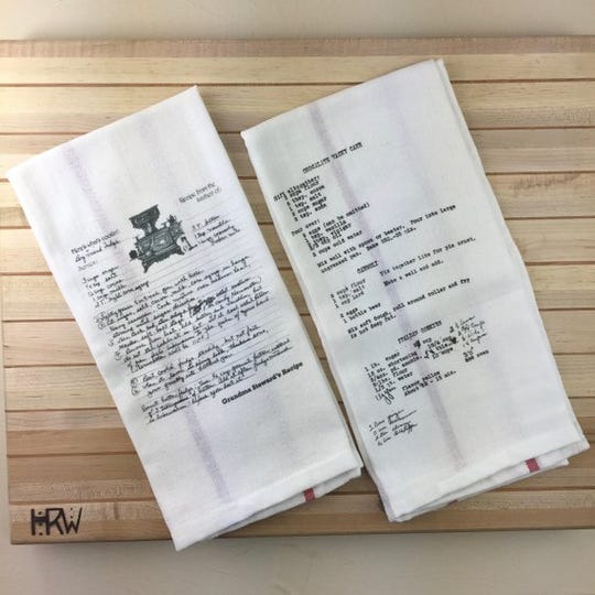 Etsy shop Recipe Tea Towels can make customized tea or kitchen towels with your family recipes.