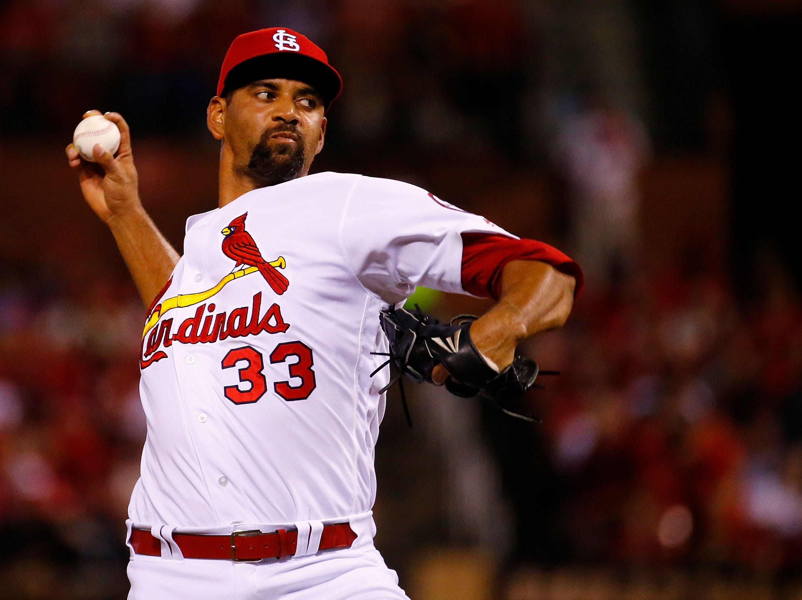 Tyson Ross of the St. Louis Cardinals pitches against the Los Angeles Dodgers in the fourth inning on September 13, 2018 in St. Louis, Missouri.