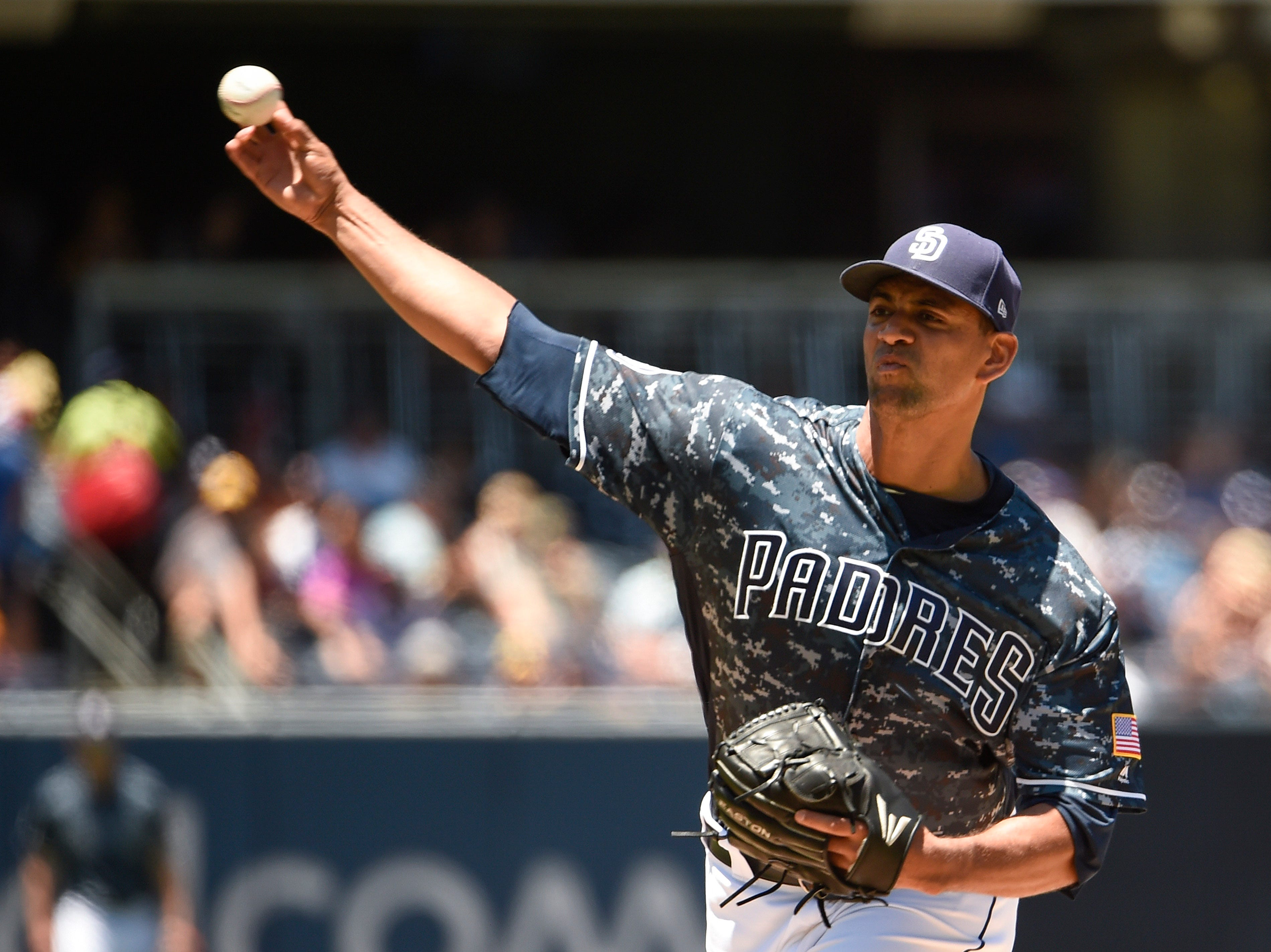 Tyson Ross of the San Diego Padres pitches during the first inning of a game against the Pittsburgh Pirates at on July 1, 2018 in San Diego, California.