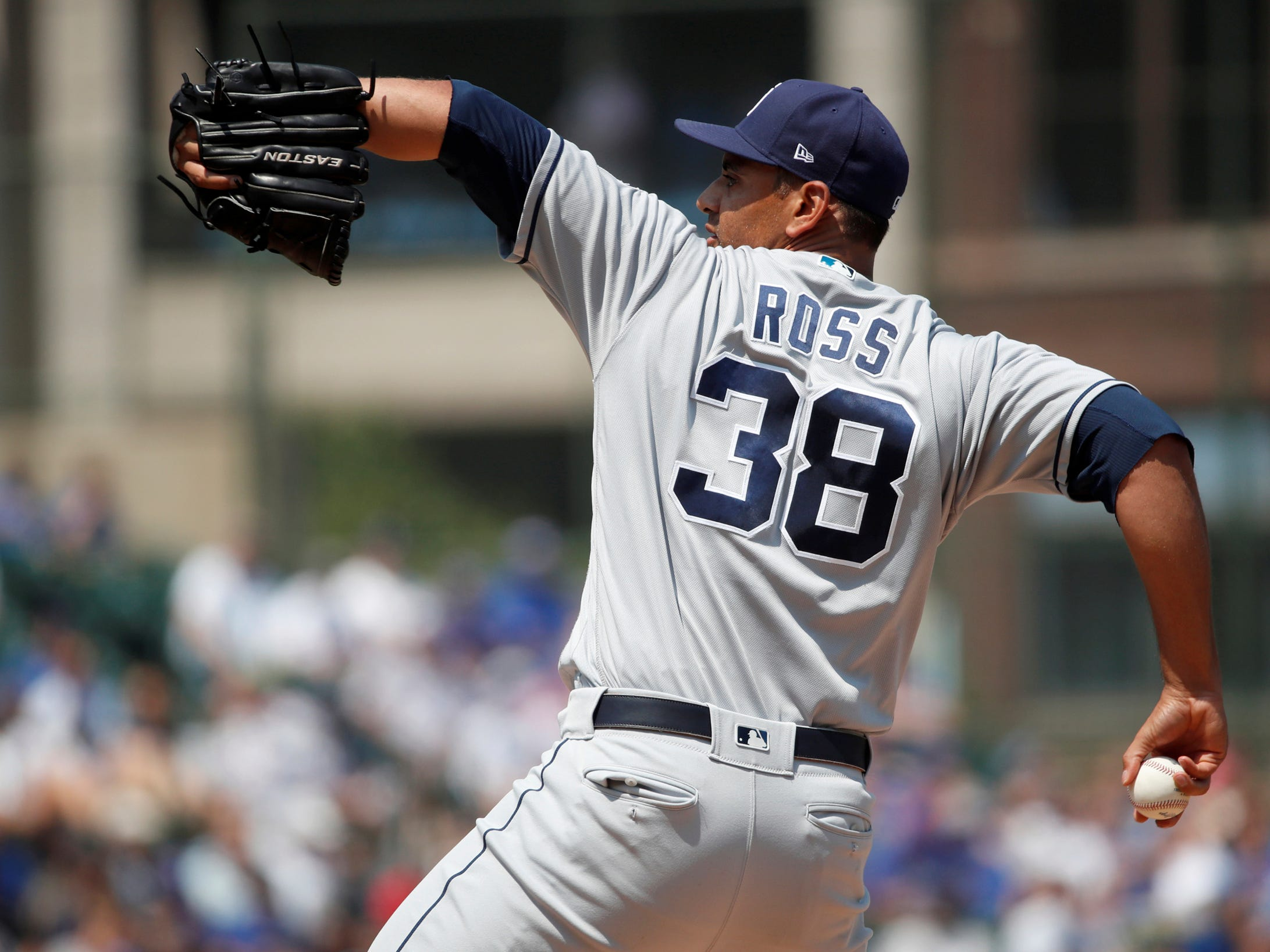San Diego Padres starting pitcher Tyson Ross delivers during the first inning of a game against the Chicago Cubs, on Friday, Aug. 3, 2018.