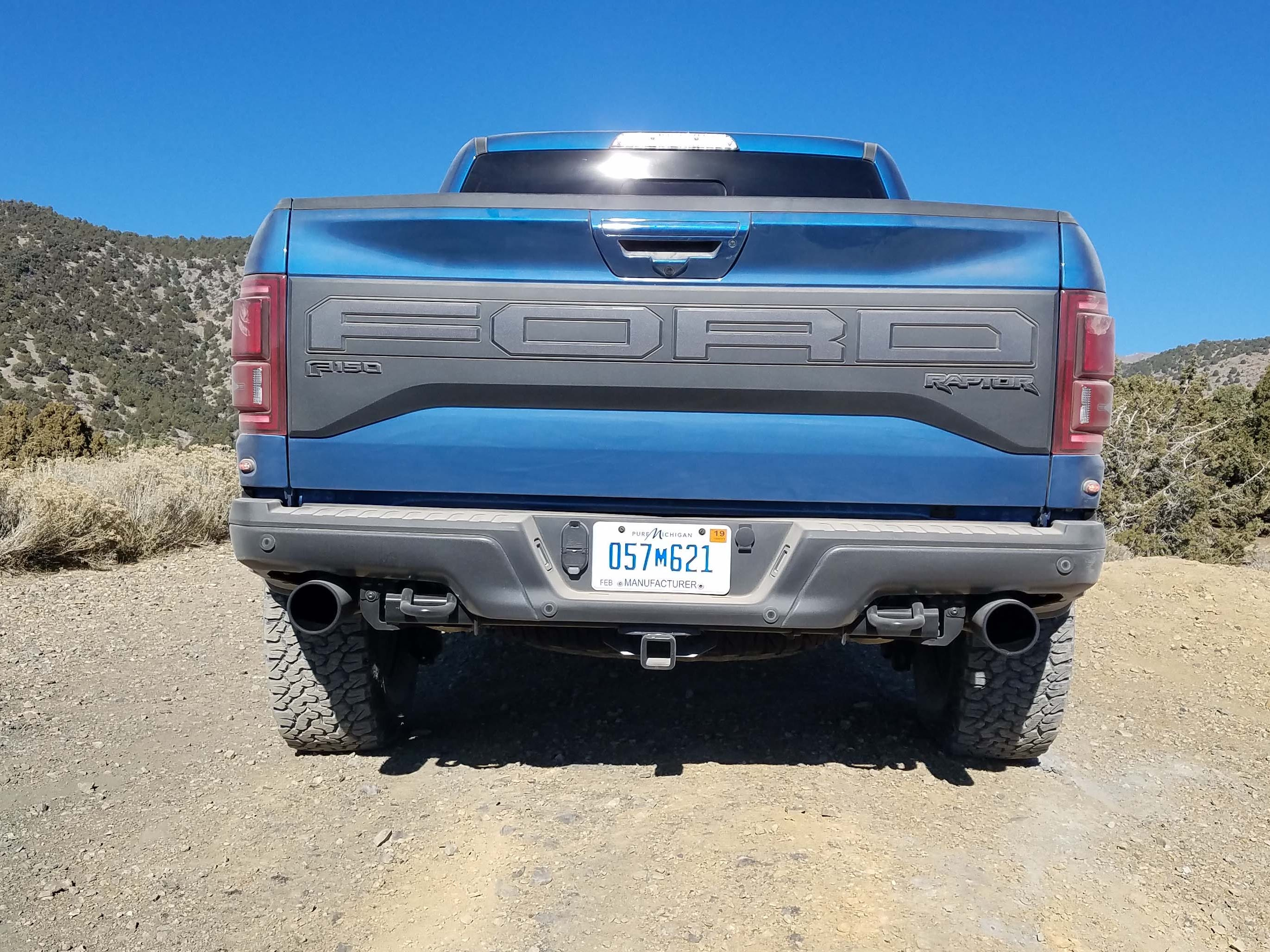 "New for 2019, the Ford F-150 Raptor tailgate gets a subtler, gray ""Ford"" stamp on the tailgate."