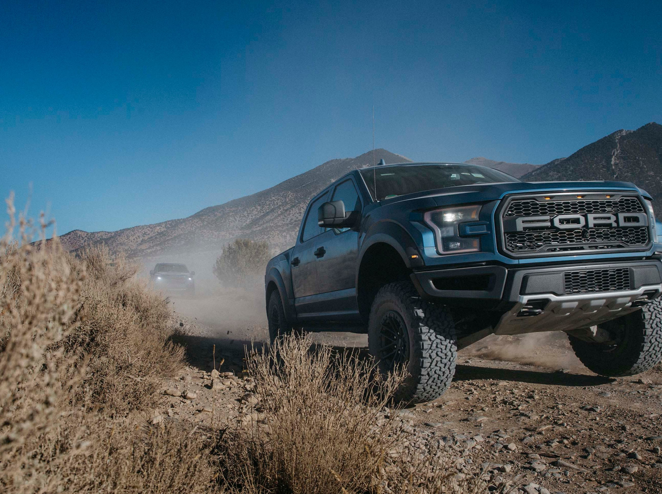 The 2019 Ford F-150 Raptor is capable of speeds of over 100 mph across open desert. Armed with Fox Live Valve shocks, the big beast is remarkably composed at such speeds.