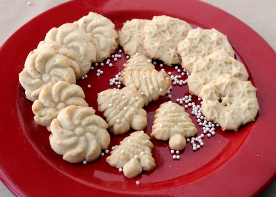 Spritz cookies are part of the selection of holiday cookies on Wednesday, Nov. 21, 2018. (Hillary Levin/St. Louis Post-Dispatch/TNS)