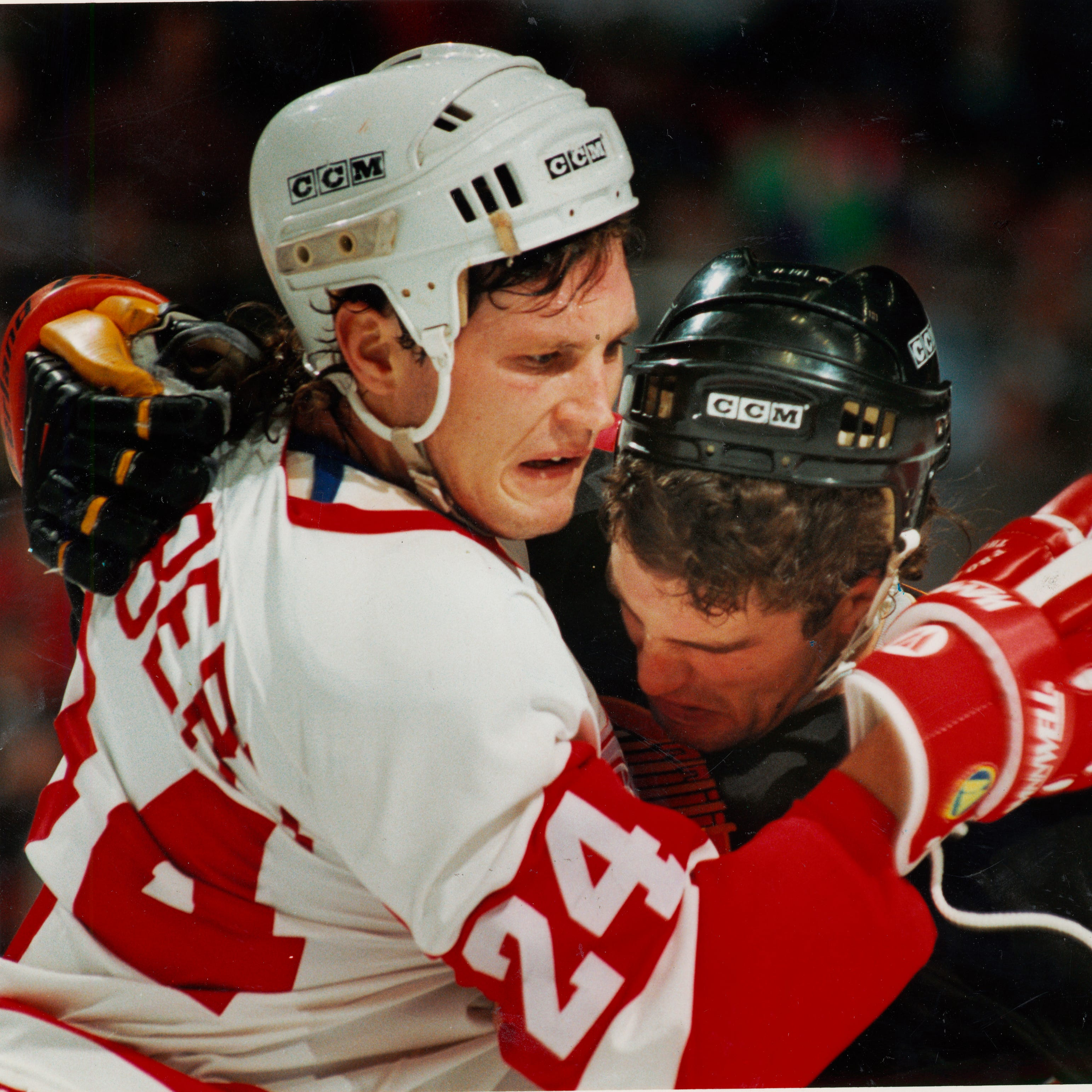 Bob Probert fighting for the Detroit Red Wings in undated photo.