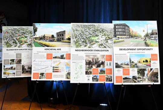 A few of the plans for various neighborhoods at a press conference announcing investments that will be made in several Detroit neighborhoods.
