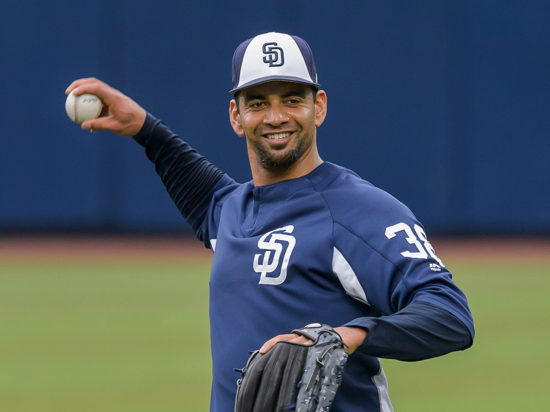 Starting pitcher Tyson Ross of San Diego Padres warms up prior a game against Los Angeles Dodgers on May 4, 2018 in Monterrey, Mexico.