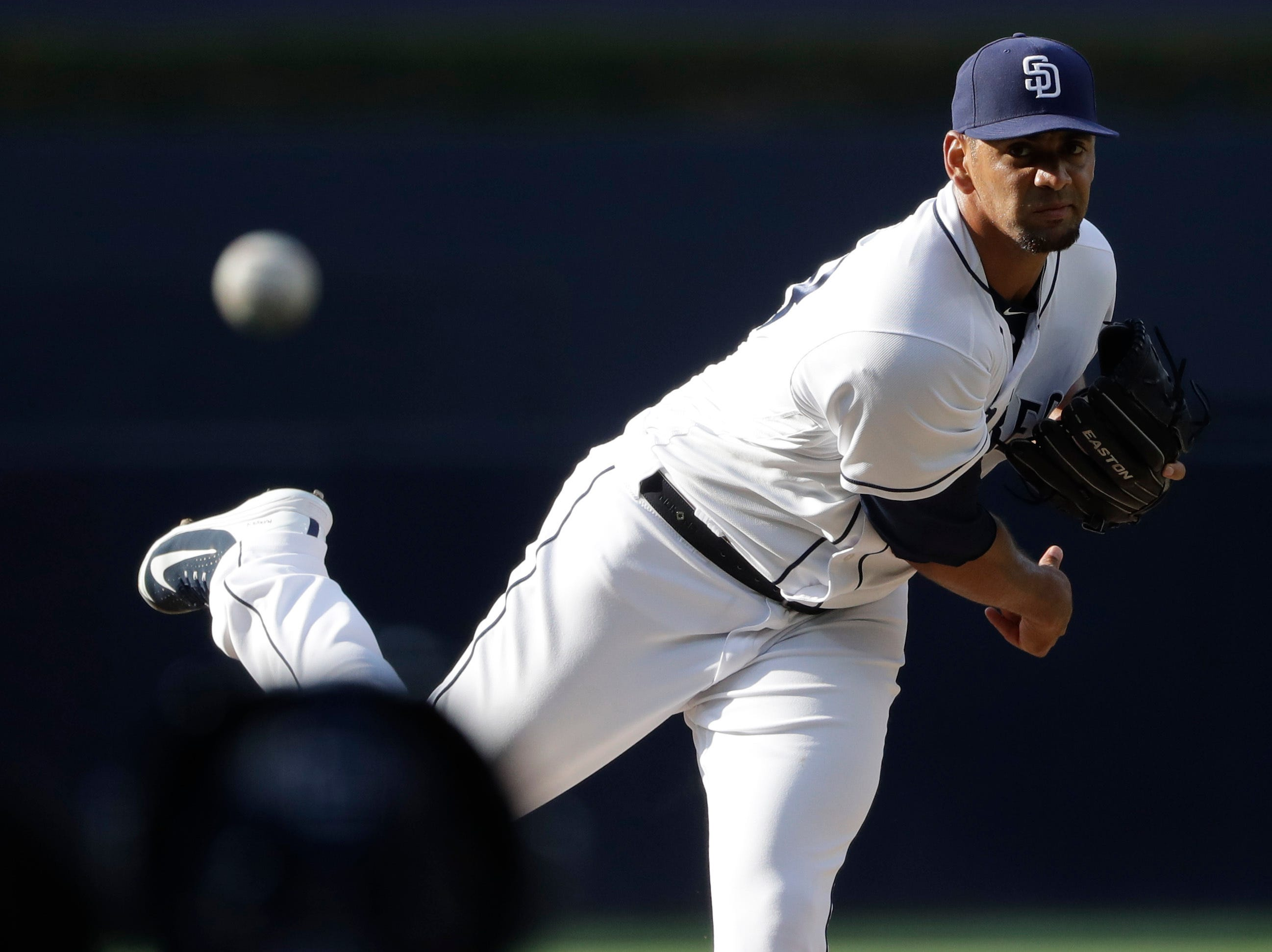 San Diego Padres starting pitcher Tyson Ross works against an Arizona Diamondbacks batter during the first inning of a game Saturday, July 28, 2018, in San Diego.