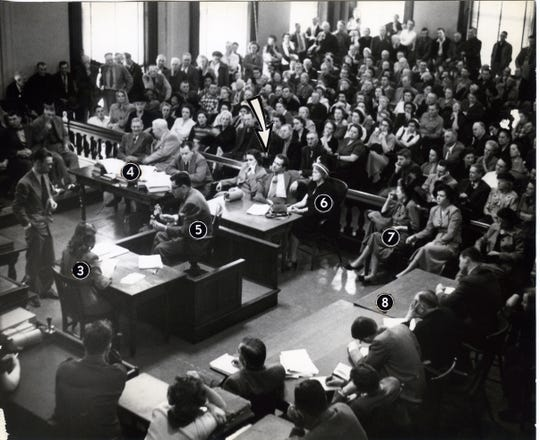 The courtroom during the 15-day trial that rocked the Evansville area in March of 1950