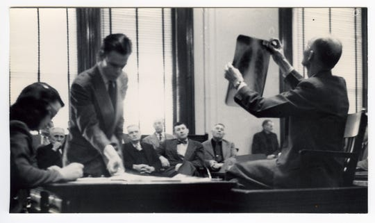 A courtroom photo showing evidence being displayed to the jurors during the 15-day trial that rocked the Evansville area in March of 1950