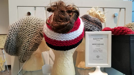 Evansville Museum of Arts, History and Science, knit hats by Carolyn Fitzgerald.