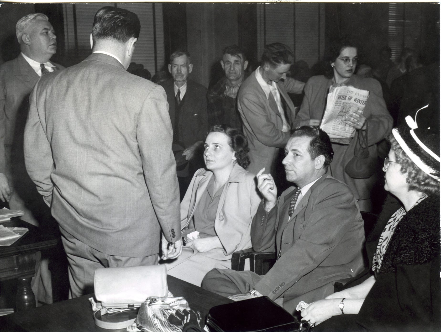Mrs. Clarice Spurlock sits the the courtroom. Spurlock was accused of poisoning her parents with arsenic in 1949.