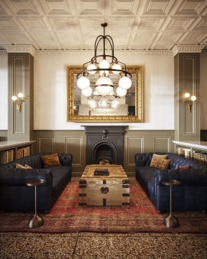 A rendering of what the renovated Armstrong hotel lobby may look like.