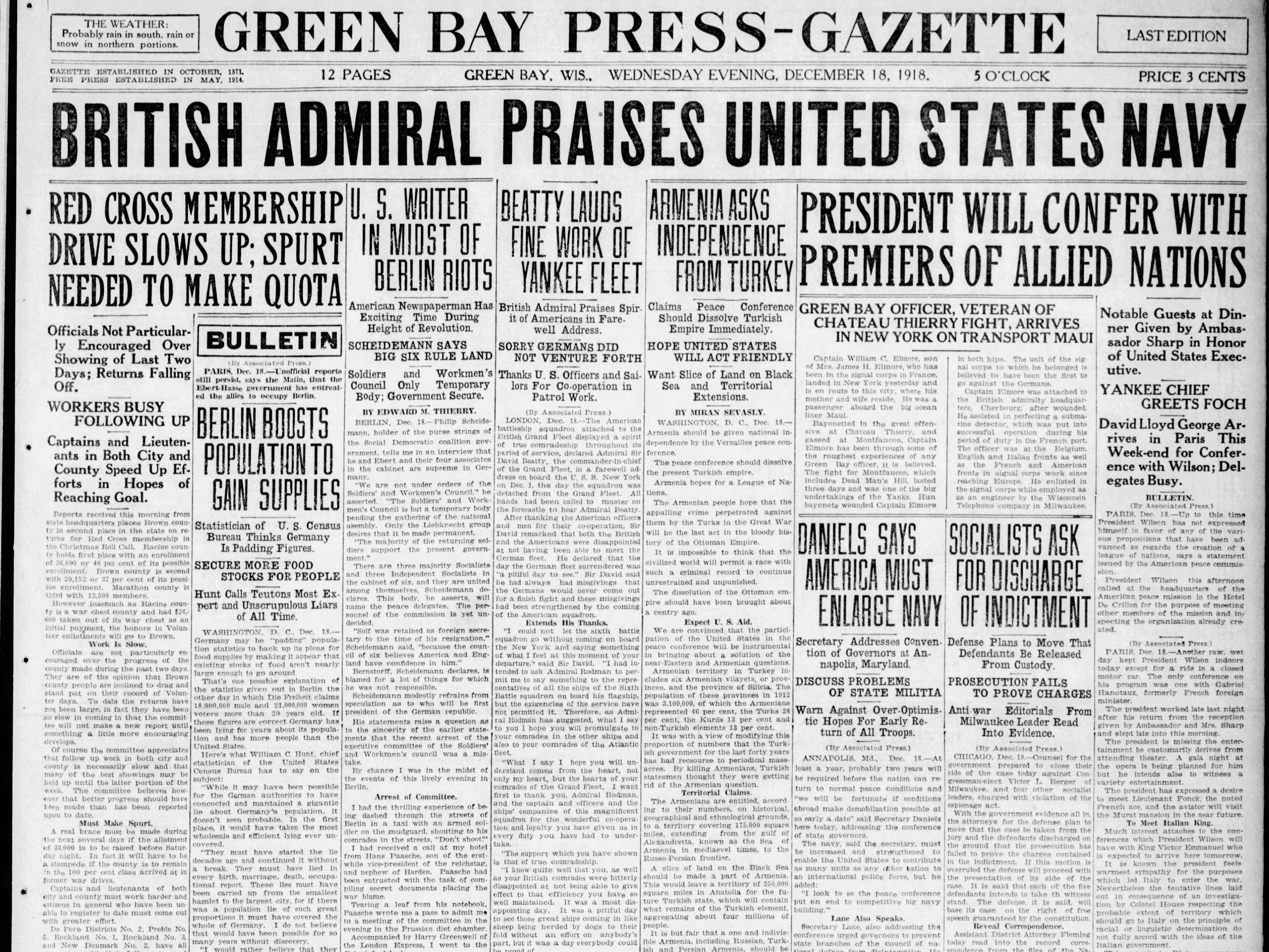 Today in History: Dec. 18, 1918