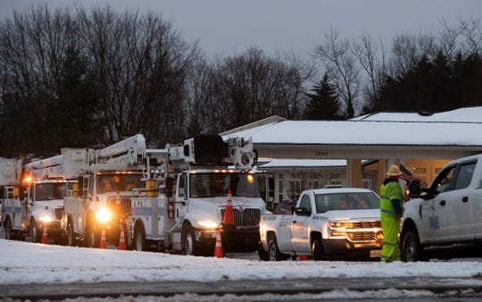 Crews are present at Greenville Place on Pelham Road Monday, Dec. 10, 2018.