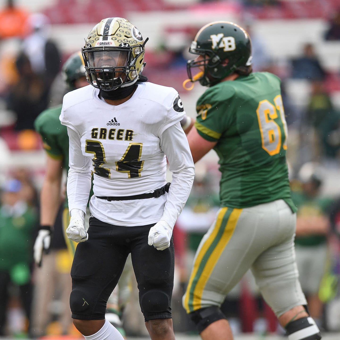 Greer's Najajuan Smith (24) reacts after a sack in the Yellow Jackets' 37-21 loss to Myrtle Beach in the Class AAAA state final Friday in Columbia.