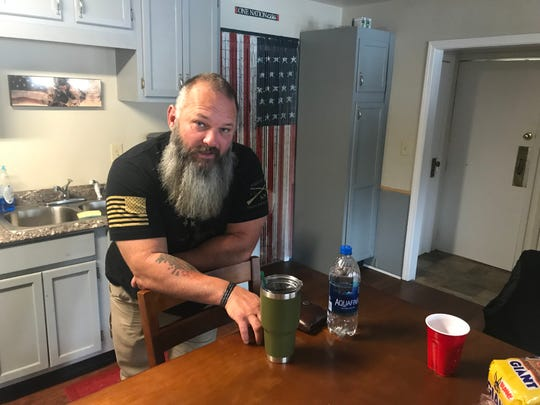 David Nardone, founder of Fellow Countrymen, talks about the organization's mission at a transitional house for homeless veterans in Greenville.