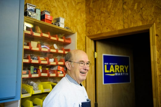 Former Sen. Larry Martin laughs while giving a tour of his woodworking shop in Pickens on Thursday, Nov. 29, 2018.