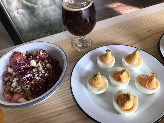 Deviled eggs with pimento cheese with spicy soft nduja salami and fresh dill are on the brunch menu at Field Brewing in downtown Westfield.