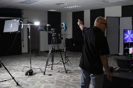 Patrons check out the A/V studio at Ignite Art Studio and Makerspace in Fishers during its grand opening July 21, 2018.