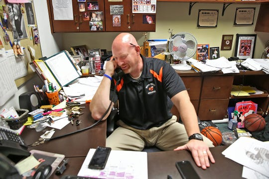 Matt English called his wife, Angela, from his office phone at Beech Grove High School on April 18, 2017.