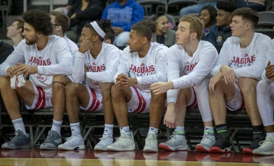 Jack Hansen (second from right), sits with teammates during an IUPUI men's basketball game at Indiana Farmers Coliseum, Indianapolis, Thursday, Dec. 7, 2018. Jack's brother, Evan Hansen, a Wabash College senior, and football team captain, took his life in September of 2018.