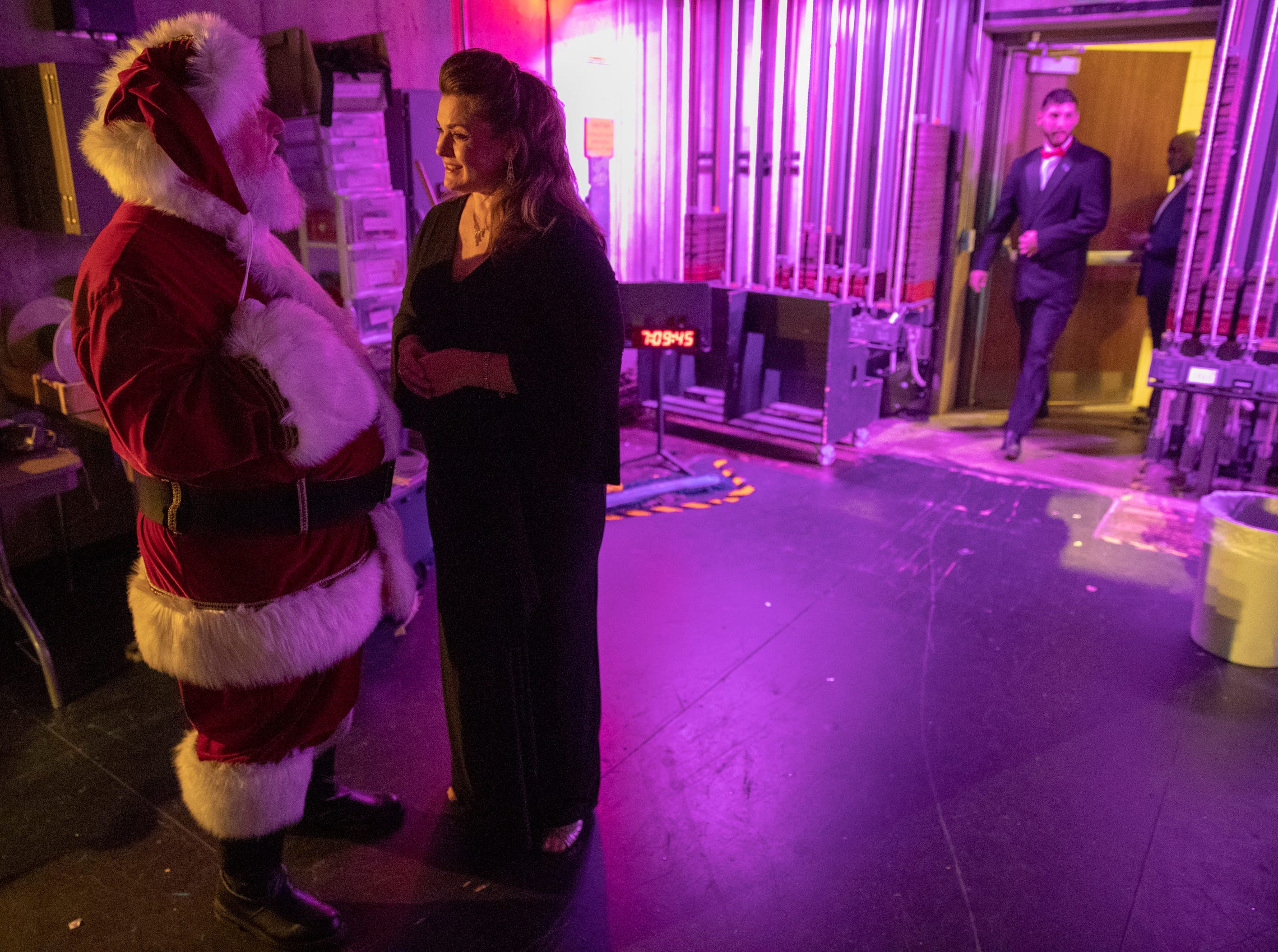 Santa Claus chats with Michele McConnell before the evening's Festival of Carols performance at Warren Performing Arts Center, Sunday, Dec; 9, 2018. McConnell is a soprano from Indianapolis, and has lived and performed at the highest level in New York for the past 20 years. Dance Kaleidoscope and Indianapolis Chamber Orchestra joined the Indianapolis Symphonic Choir for the show, that will be repeated several more times in the area this season.
