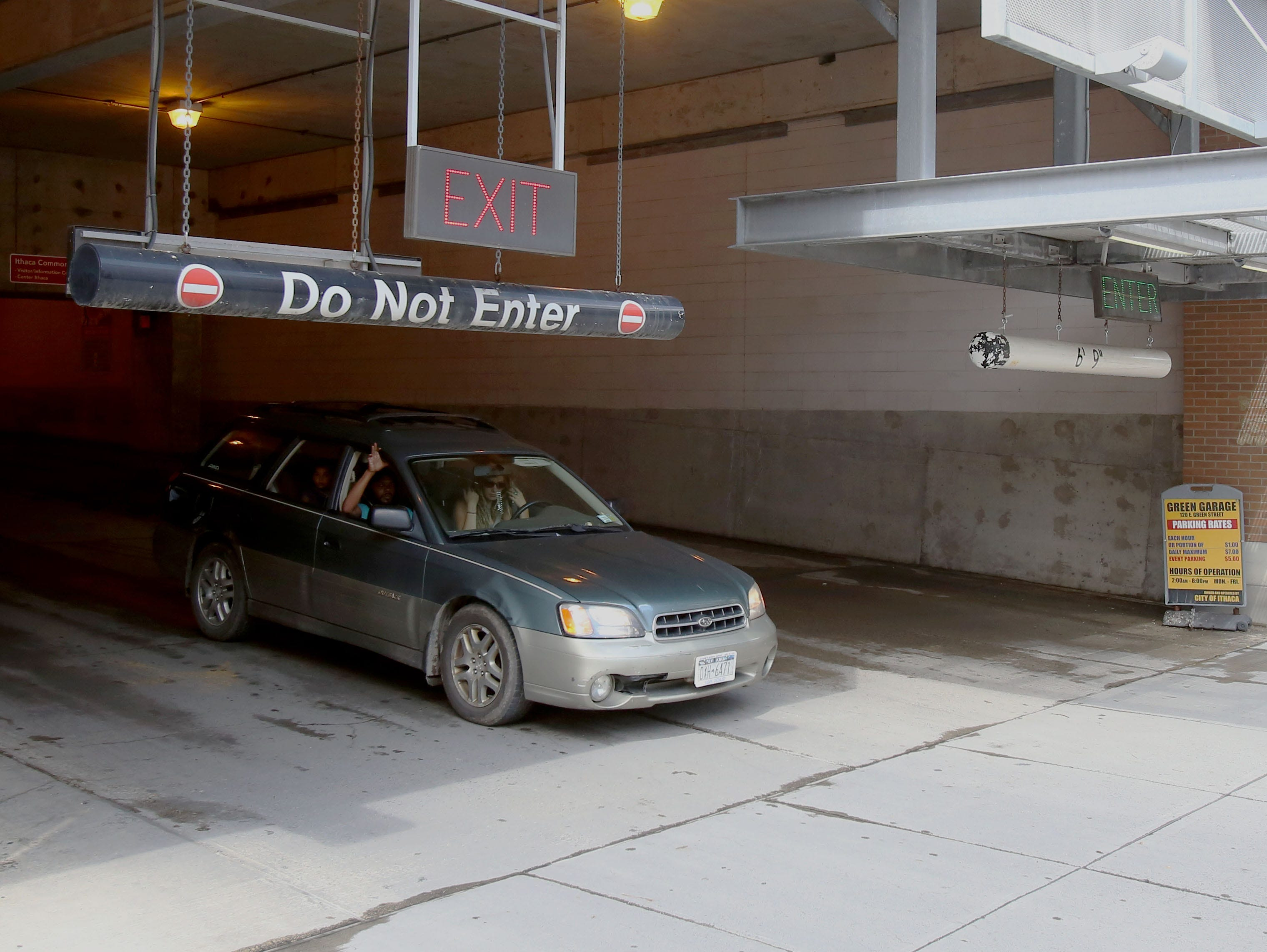 A vehicle exits the Green Street Garage.