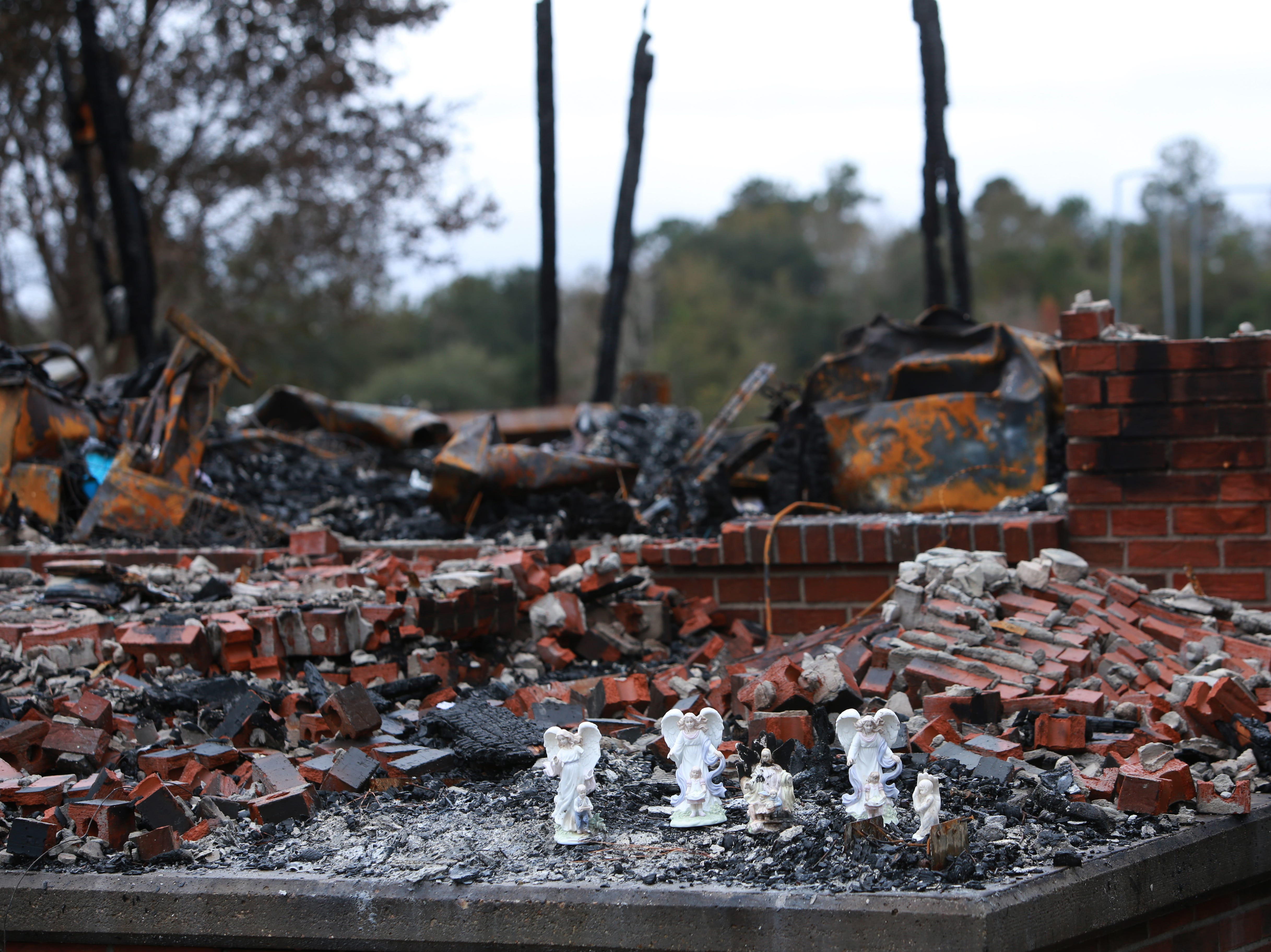 The only possessions that were left unscathed from a fire that destroyed the Haas family home in Kiln, Mississippi, were four blessed angel figurines guarding children. A fifth angel also remained. Her backside, her wings, were burned in the fire on November 26, 2018.