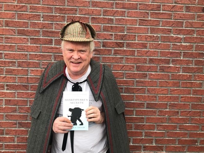 """Author Aaron F. Tatum poses with his novel, """"Shakespeare's Secrets,"""" in Sherlock Holmesian garb. Tatum will be discussing his book at the Jackson-Madison County Public Library on Wednesday."""