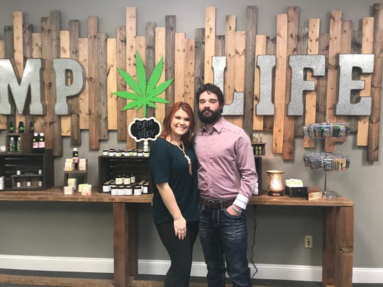Jacob and Adrian McNabb during the grand opening of their store Hemp Life in Jackson, TN. Dec. 7, 2018.
