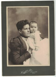 Alice Mabry Hazen holds her daughter Evelyn.