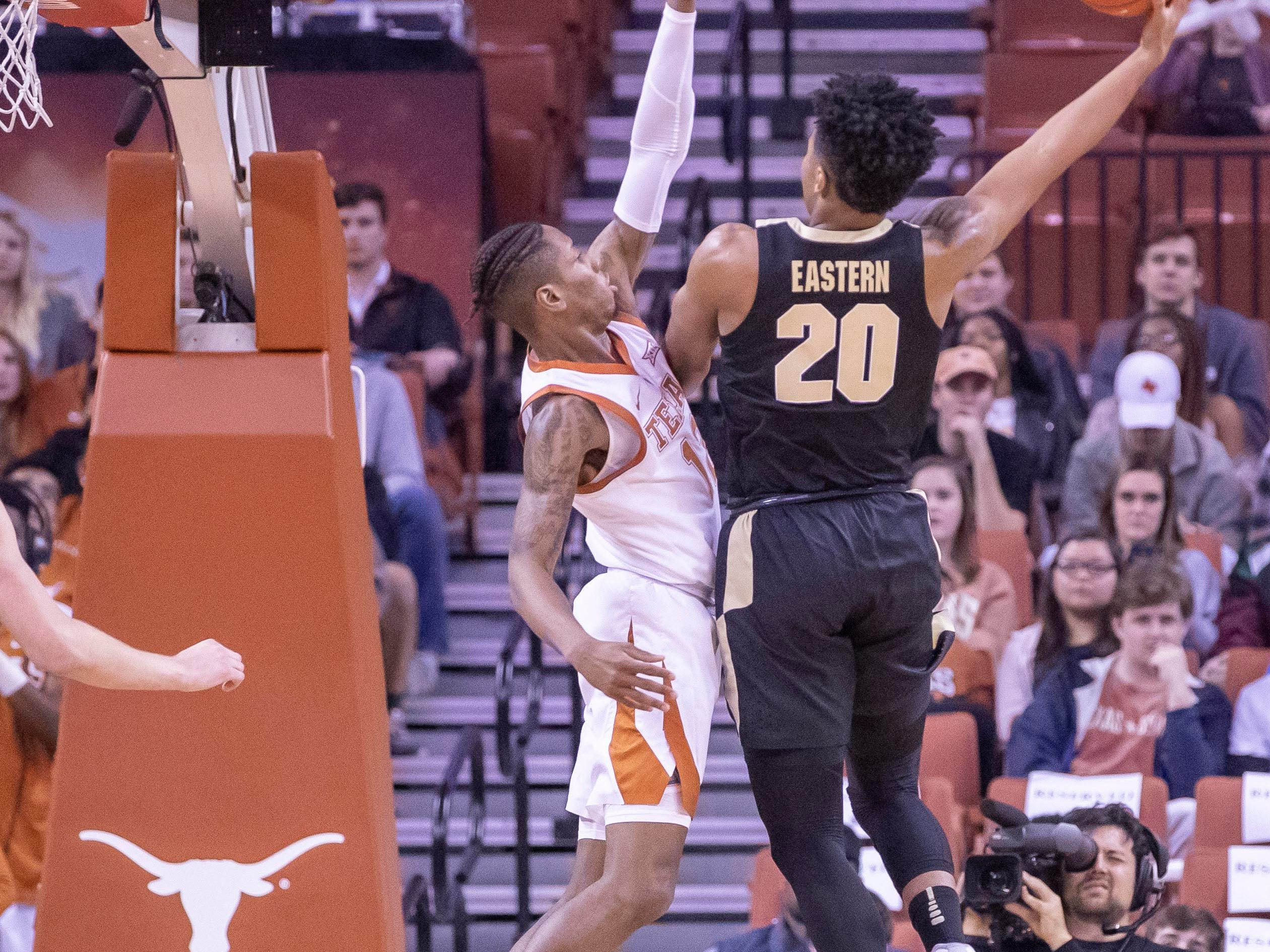 Dec 9, 2018; Austin, TX, USA; Purdue Boilermakers guard Nojel Eastern (20) shoots against the Texas Longhorns during the first half at Frank Erwin Center. Mandatory Credit: John Gutierrez-USA TODAY Sports