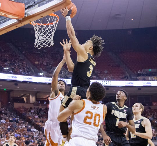 Dec 9, 2018; Austin, TX, USA; Purdue Boilermakers guard Carsen Edwards (3) moves to the basket against the Texas Longhorns during the second half at Frank Erwin Center. Mandatory Credit: John Gutierrez-USA TODAY Sports
