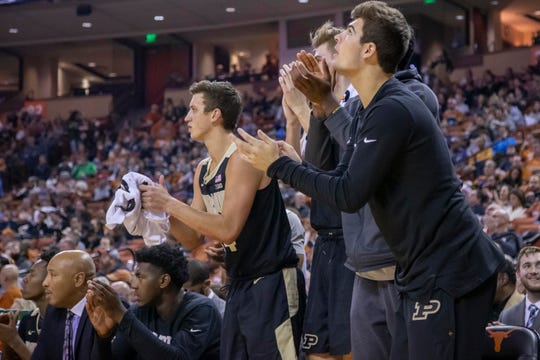 Dec 9, 2018; Austin, TX, USA; Purdue Boilermakers come off the bench following a basket against the Texas Longhorns during the first half at Frank Erwin Center. Mandatory Credit: John Gutierrez-USA TODAY Sports