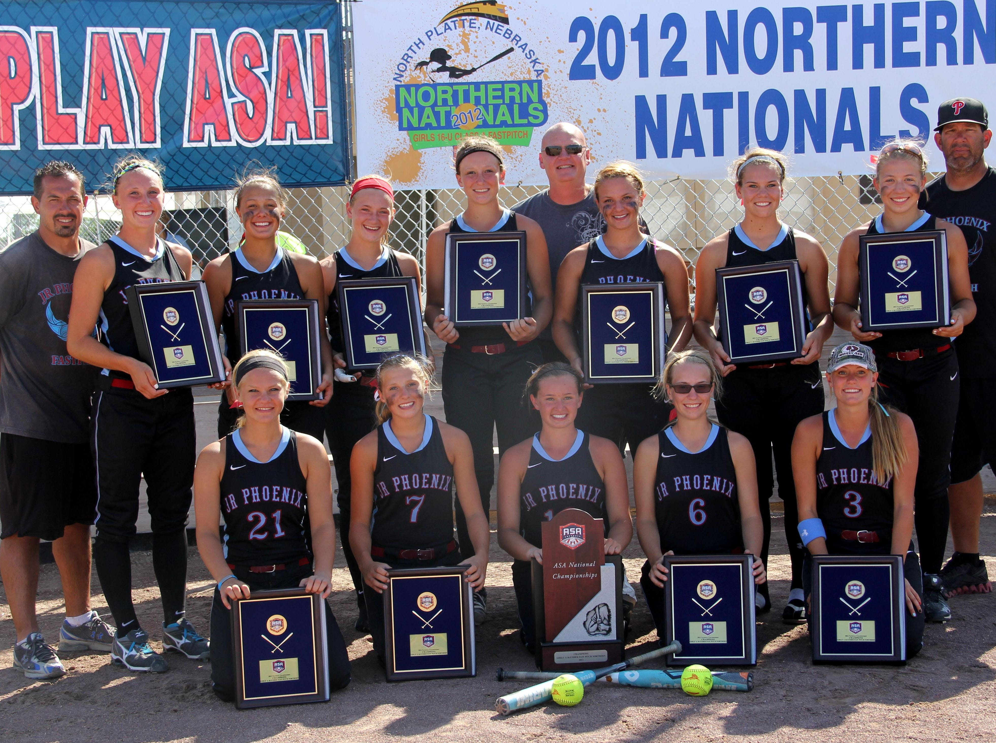 Potential UL transfer Megan Kleist (four from left on top) is shown here on team winning the 2012 ASA Class A 16U national championship with a 7-1 record in North Platte, Neb. The team was coached by current UL pitching coach Mike Roberts (top row, far right.)
