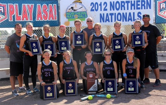 UL transfer Megan Kleist (four from left on top) is shown here on team winning the 2012 ASA Class A 16U national championship with a 7-1 record in North Platte, Neb. The team was coached by current UL pitching coach Mike Roberts (top row, far right.)