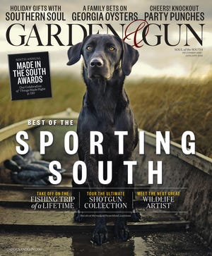 Garden and Gun December issue features Louisville made Clayton and Crume leather messegner bag.