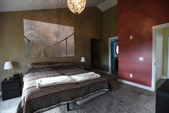 The master bedroom in Melissa and Lucas Lundberg's 4,600-square-foot home in Charlotte.