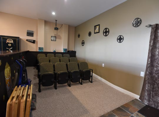 The home theater inside Melissa and Lucas Lundberg's 4,600-square-foot home in Charlotte.