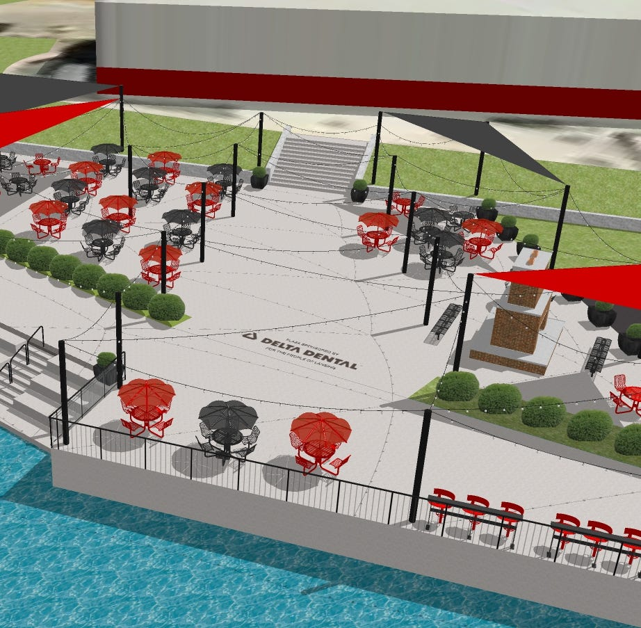 Delta Dental Plaza to include outdoor fireplace, 'lighted forest'