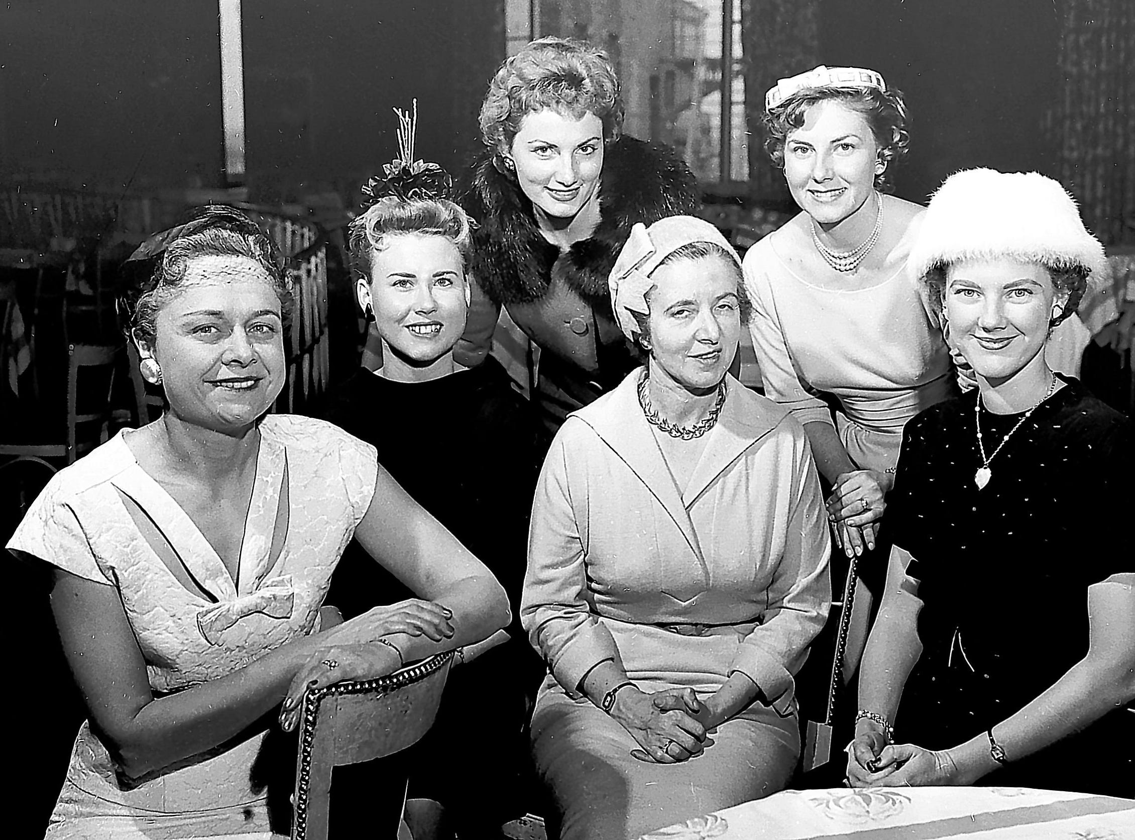 Leaders heading the Newcomers Club in 1959 are seen in December 1958 at the Peabody Skyway.  Front Row From left:  Mrs. Floyd Porter, president, Mrs. Edward Prevette, second vice president; Mrs. W.B. Campbell, treasurer and Mrs. Dan Toma, first vice president, and (Back Row:  Mrs. Donald J. Loyd (Left), third vice president and Mrs. George L. Pehlman, secretary.