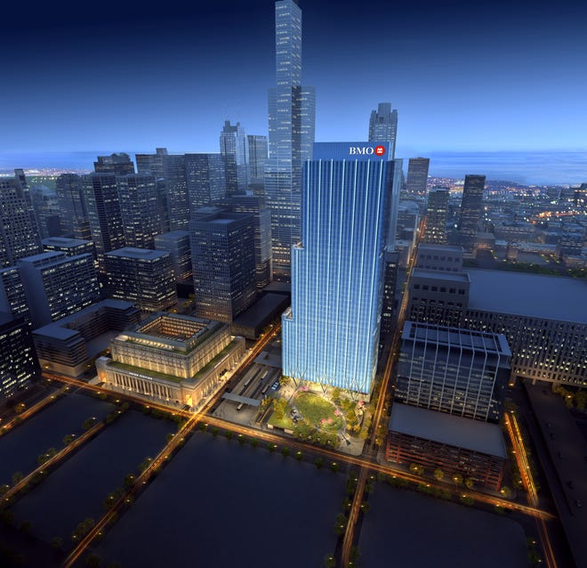 This rending shows the new 50-story BMO Tower planned for Chicago.