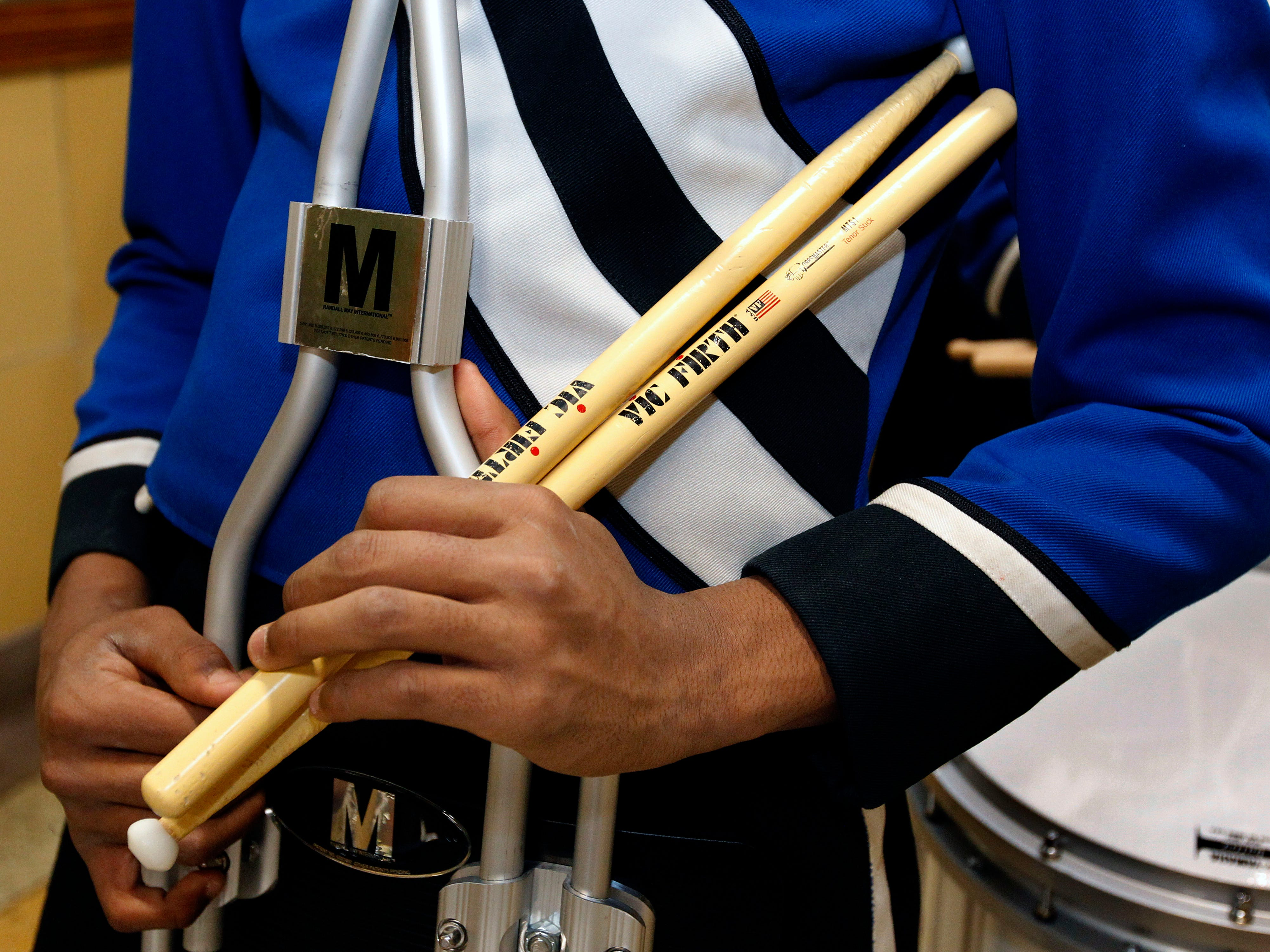 Maleak Taylor, a freshmen at North Divison High School, who plays quints for the drumline at Rufus King High School, waits for the band competition to begin at the MPS Hosts City Drumline Competition on Saturday, Dec. 8, 2018.