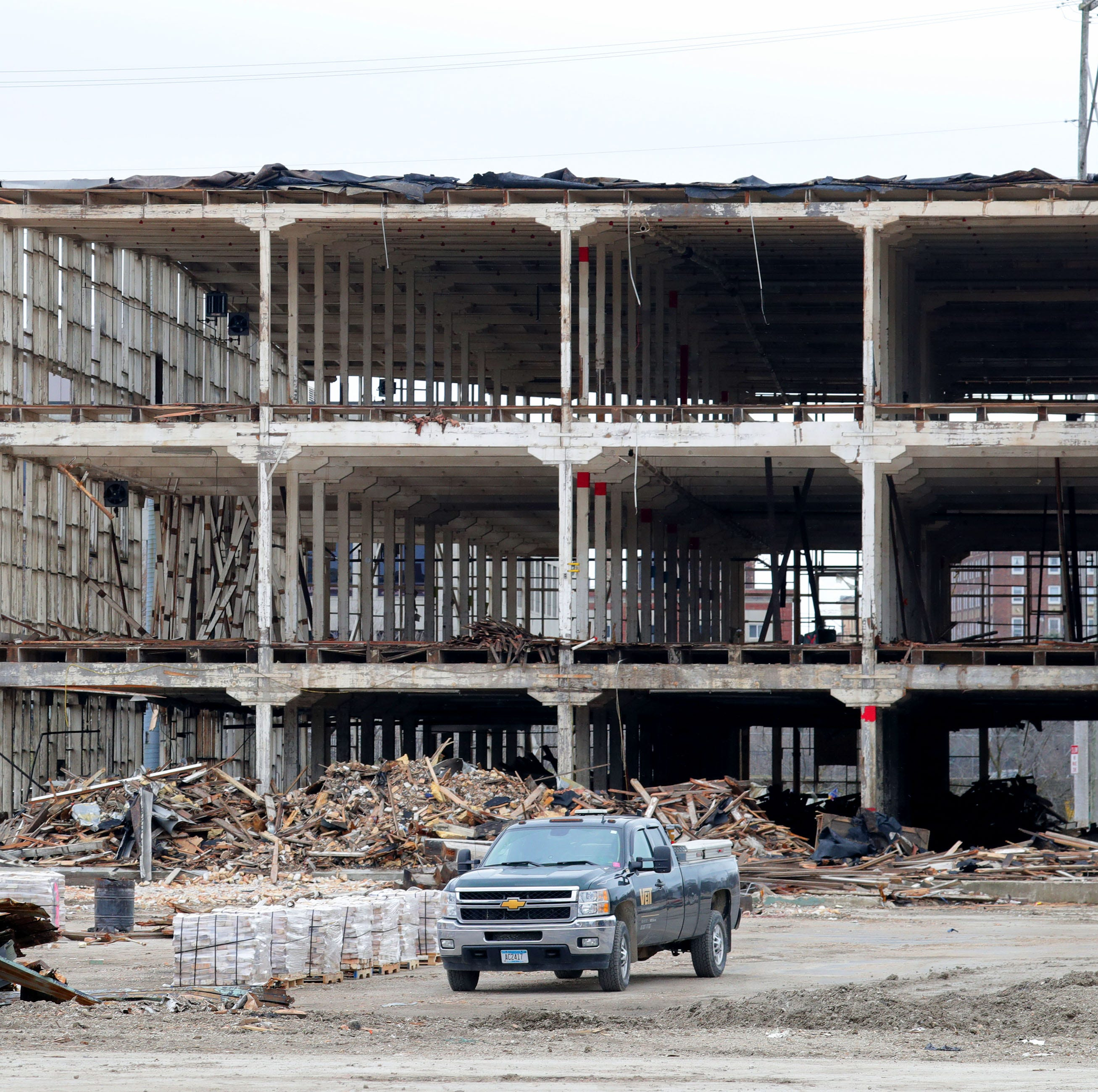 A former JI Case manufacturing facility is gutted. Urban Evolutions, a company based in Appleton, is working on the deconstruction of two old JI Case buildings in Racine.