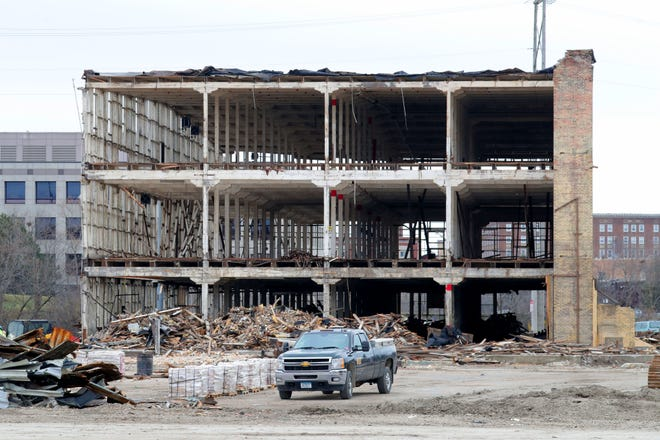 A former JI Case manufacturing facility in Racine was deconstructed in 2018 and 2019. A Milwaukee ordinance that requires old, dilapidated houses to be slowly deconstructed will continue to be suspended while businesses are trained to do that work.
