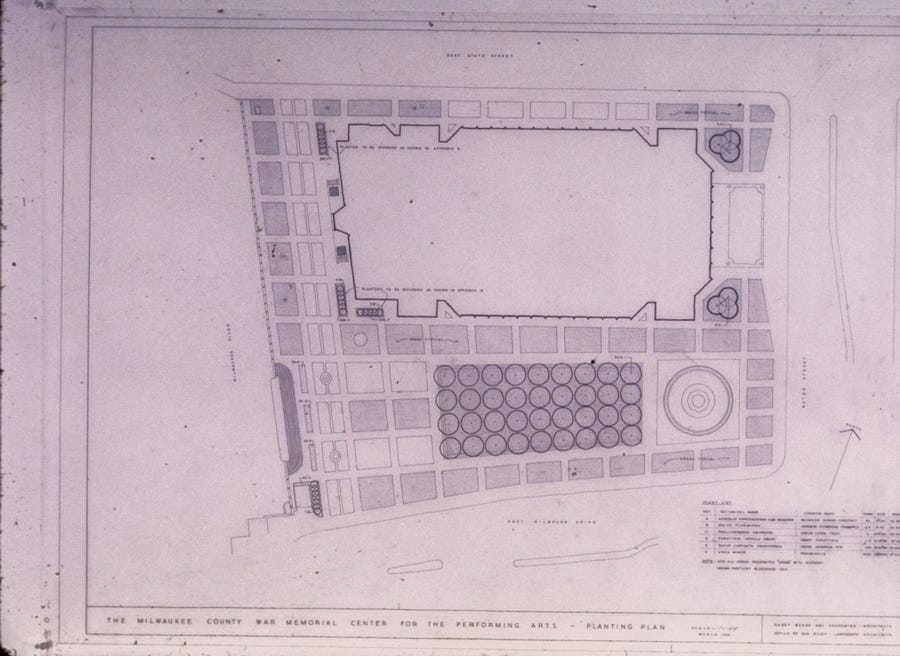 Landscape architect Daniel Urban Kiley's original plans for what is now the Marcus Center for the Performing Arts.