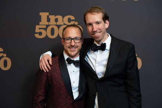 Brad Hollister (left) and Jason Swanson, co-founders of SwanLeap, attend the Inc. 5000 Awards last year. The company made the list again this year, placing the highest of 49 Wisconsin companies.