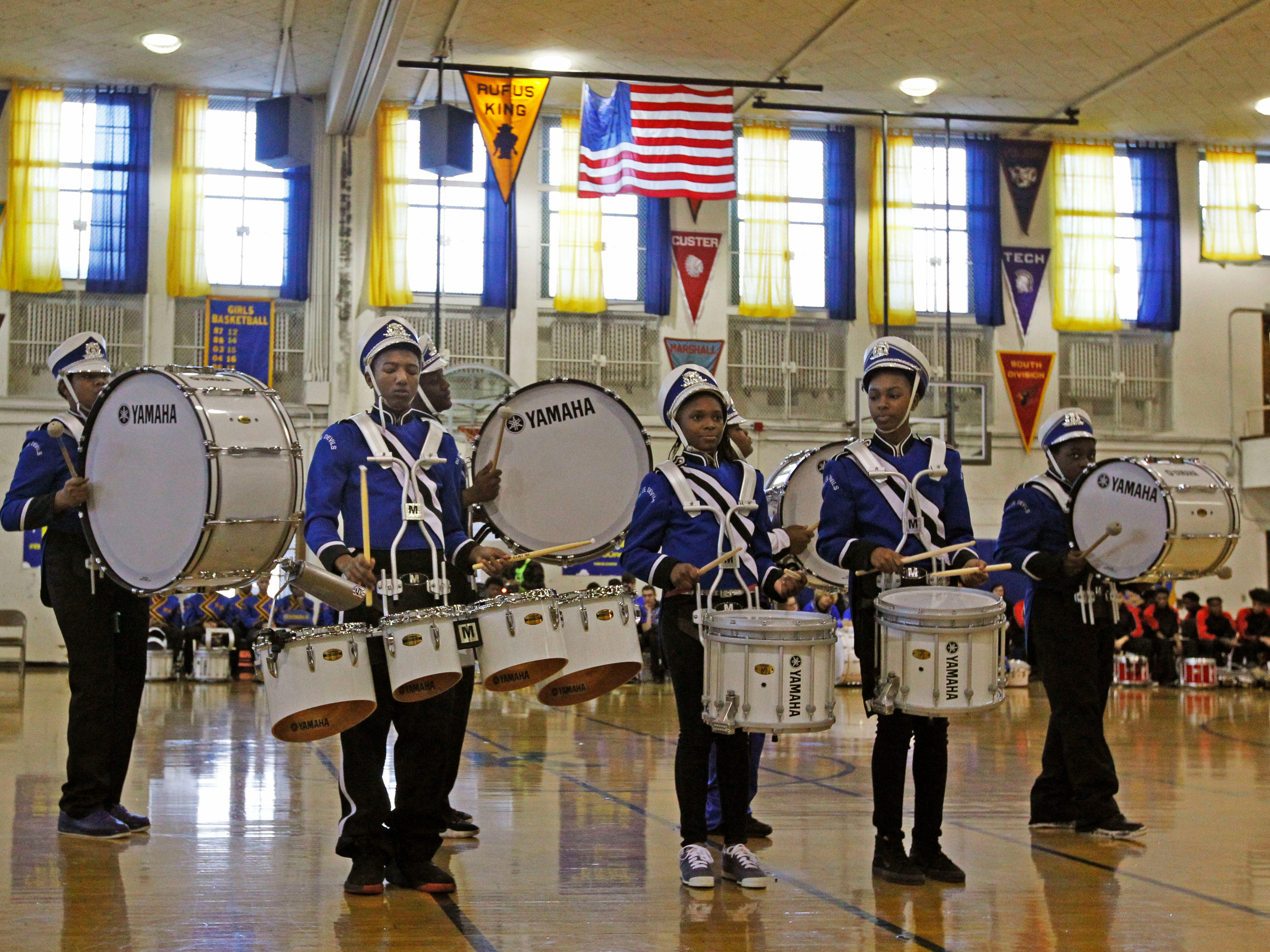 Maleak Taylor, a freshmen, center,  at North Divison High School, plays quints for the drumline during the MPS Hosts City Drumlime Competition at Rufus King High School, Saturday, Dec. 8, 2018.