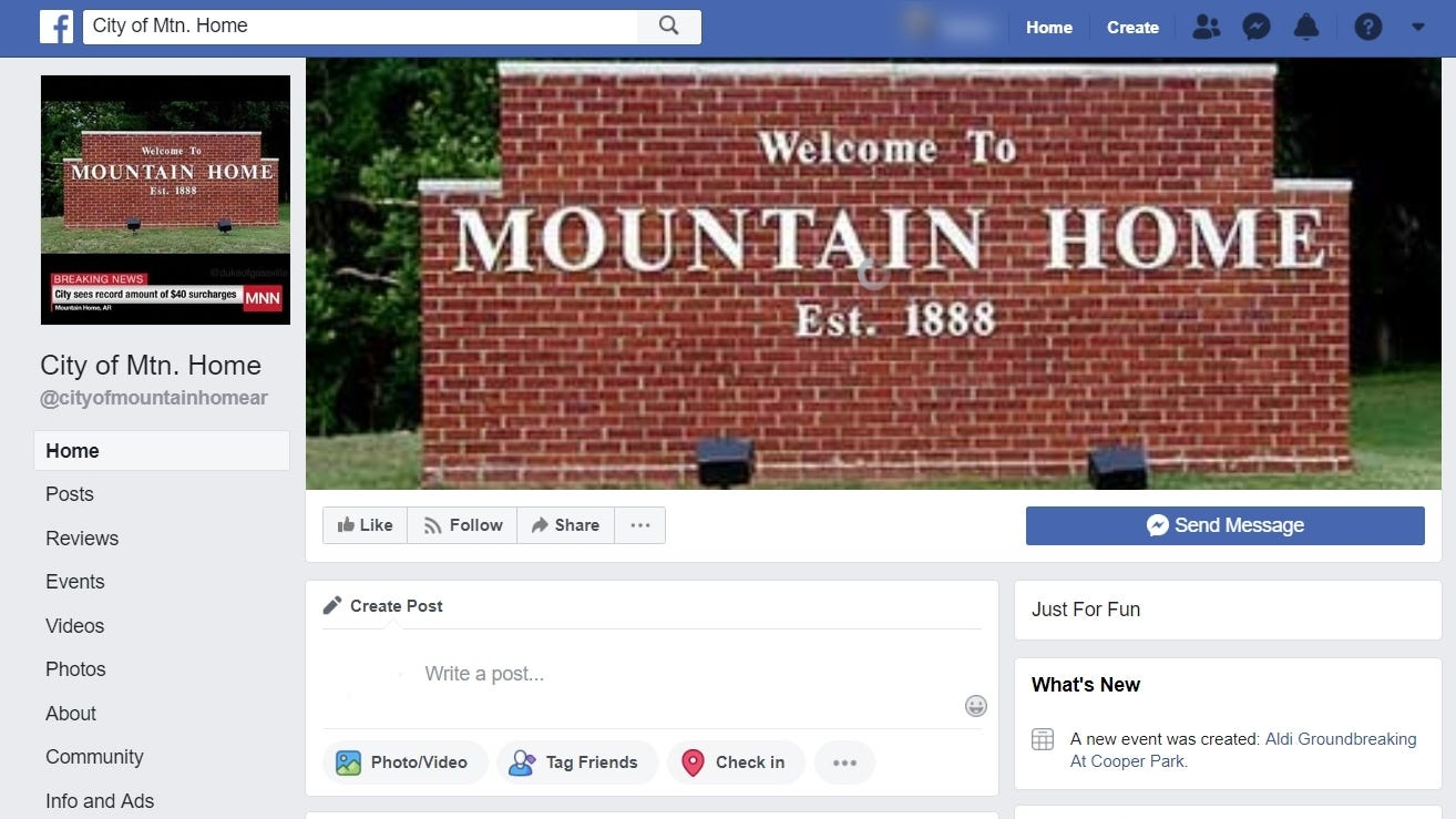 """""""City of Mtn. Home,"""" a satirical Facebook page presenting itself as a legitimate page for the City of Mountain Home, has gained more than 2,200 followers in just over a week's time."""