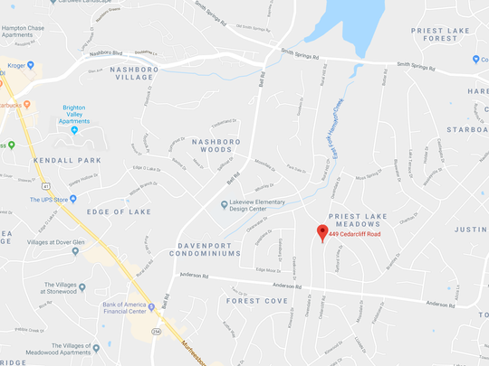 Map of reported accidental shooting on Cedar Cliff Road on Dec. 10, 2018.